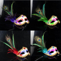 Wholesale Women Girls Peacock Feather paintball gold Crystal embellished lace mask Masquerade Mask Mardi Gras Masks Party Masks Color