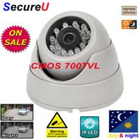 Envío gratuito a IR CMOS de 700TVL cúpula de uso en el interior de la cámara de seguridad de la instalación del sistema de vigilancia de vídeo digital monitor de la cámara térmica de equipo de cctv