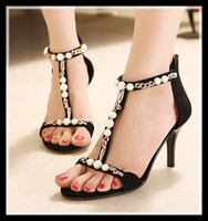 Wholesale 2014 real leather black pearl rhinestone wedding shoes sexy shoes heel stiletto heel women dress shoes size colors