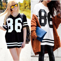 Cheap Summer New Celeb Style Oversized 86 Print Baseball Tee T-shirt Short Sleeve Top College Loose Dress Black M-XL #4 SV002967