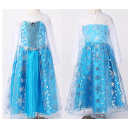 Wholesale DHL FedEx frozen dress latest lace long sleeve Children s dress frozen dress cartoon Elsa blue girls cheap Christmas dresses