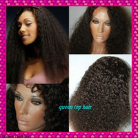 Cheap Freeshipping Fashion Kinky curly Stock Brazilian Virgin human hair Full Lace wig bleached knots for black women can be dyed