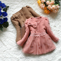Wholesale Children Winter Coat Long Girl Dresses For Party Dresses Kids Winter Coat Baby Outwear Cute Lace Clothing with bownot Winter GDW002