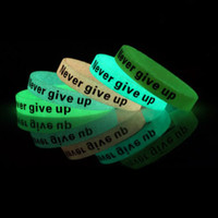 Wholesale 500PCS Customoized screen print glow in dark rubber silicone wristband for event P061001