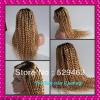 Cheap Wholesale price ombre #1b #27 Kinky Curly two tone U part wig Malaysian virgin human hair Freeshipping
