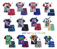 Unisex Summer 2~8 Boys cotton Pajamas kids Summer spider man Avengers pyjamas children baby cartoon clothing set sleepwear 5 sets lot