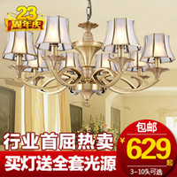 Wholesale VNC living room European style hand copper chandelier chandeliers American luxury restaurant brass lamps Lighting T2950