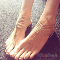 Cheap 2piece lot Women 2014 Fashion Multilayer Tassel Toe Ring Ankle Bracelet Anklet Chain Link Foot Jewelry