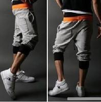 Cotton polyester men capri pants - retail summer slim popular Drawstring patchwork color colors sizes men s Casual sport capri pants K12