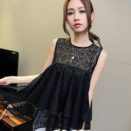 Wholesale dresses Spring new Korean version of the small fresh sweet lace sleeveless round neck short section of chain link fence