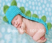 Cheap Hot Sale Lovely Blue Baby Costume Photo Photography Prop Toddler Knit Crochet Beanie Animal Hat Cap Free Shipping