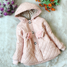 Girl Hooded Long-sleeved Cotton Coat Kids Autumn Winter Clothing Children's Winter Coats Han Edition Outwear For Girls Party Dresses GDW008