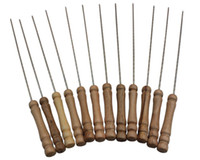 Wholesale 31cm Wooden Handle set Roasting Needle Protable Outdoor Picnic Metal iron Barbeque Skewers BBQ Kebab Sticks