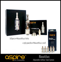 Replaceable 5ml Metal Original aspire airflow control nautilus tank kit 10pcs with Nautilus replacement coil 50pcs low MOQ fast shipping