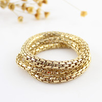 Wholesale Hip Hop Jewelry set Euramerican style Multilevel Cuban Link Chain Gold Color Bracelets and Bangles