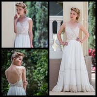 Wholesale Bohemian Lace Low Back Wedding Dress Tiered Chiffon Vintage Gypsy Wedding Dress Boho Chic Wedding New Design