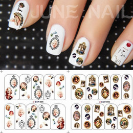 Wholesale nail watermark design nail decals stickers beautiful celebrities Monroe and brand logo phototherapy nail decals