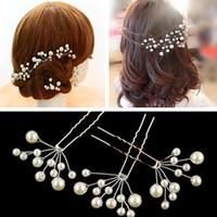 Wholesale 20 New White Pearl Flower U shape Hairpins Hair Clips Wedding Bridal Wedding Hair Accessories