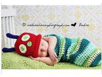 Wholesale BX00002Pure hand knit sweater suit newborn baby photography clothing photography full moon photographed caterpillar sleeping bag