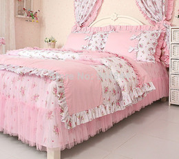 Pink rural princess lace ruffle floral bedding sets 4pcs,kids soft bow duvet cover set,twin queen king