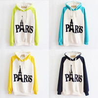 Cheap Loose Cheap Free Shipping New 2014 Women's Fashion Autumn Sweatshirts With Cap Hooded Inside Fleece Eiffel Towel Hoodies P8933