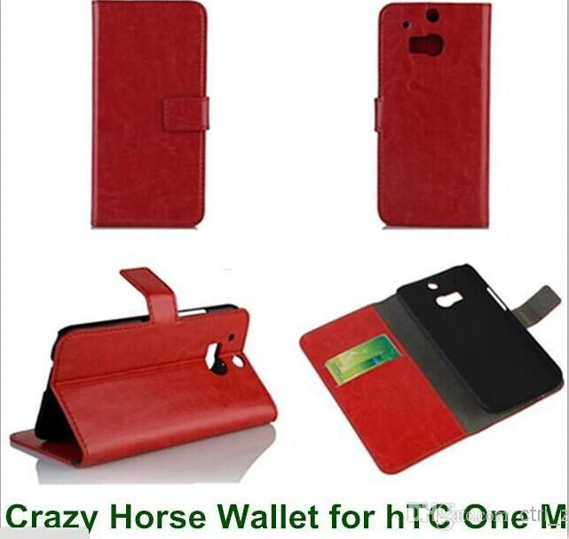 Buy luxury Crazy Horse Pattern Leather Wallet Style Cover Case HTC One 2 M8 Magnetic Closure Phone Bag