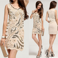 Wholesale 2014 Fashion Sexy Womens Ladies Hand Sequined Flower Wedding Sleeveles Clubwear Cocktail Ball Gown Party Wrap Dress Stretchable Bodycon