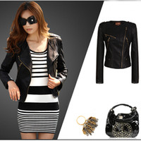 Wholesale 2014 Brand New Sexy Womens Ladies Girls PU Faux Imitation Leather Punk Locomotive Oblique Zipper Short Jackets Coats Outwear Blazers Tops