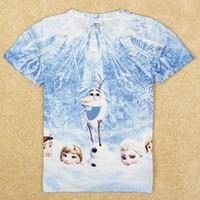 Wholesale nova latest design frozen kids clothes baby boy t shirts hot cartoon snowman Olaf Elsa Anna print summer tops childrens clothing C5205Y