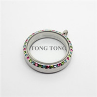 Wholesale 30mm Magnetic Closure Silver L Stainless Steel Floating Charm Locket with Colorful Crystals