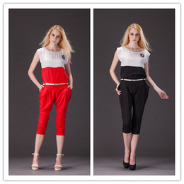 Wholesale 2 New Set Girl s Sleeveless Chiffon Top Shirt With Big Pocket Capri Pant Top Pant Belt T0610