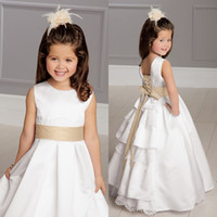 ribbon bow and flowers - 2015 Hot Lovely Flower Girls Dress White and Gold Jewel Neckline Floor Length Lace Sash Satin Girls Formal Gown Wedding Party Gowns EM0206