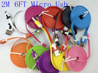 2M 6FT Micro USB V8 Flat Sync Noodles Data Charging Cable fo...