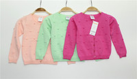 Wholesale Western Style Children Clothing Girls Dressing Cotton Sweater Pure Coloured Single Breasted Long Sleeve Cardigan Babies Knitwear J0356