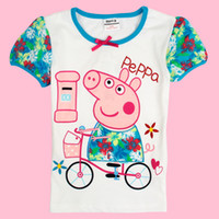 Wholesale ova Kids summer wear baby girls white t shirts cartoon clothing Peppa Pig clothes cotton short sleeve printing tees girls tops