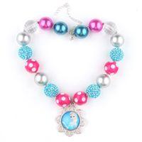 Wholesale Frozen Chunky Necklace Princess Elsa Pendants Handmade Rhinestone Beads Polka Dot Beads Clear Gumball Beads