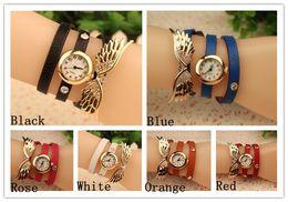 Wholesale Top Sale Fashion Bracelets Watches Women Wrist Quartz Watches Leather Wrap Angel Wing Charms Mix Colors