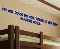 Wholesale Wall Art Decal Sticker Quote Vinyl Lettering Try Not Master Yoda Star Wars
