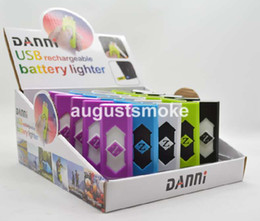 Wholesale Portable DANNI USB lighter Electronic Battery Cigarette Flameless Lighter with flash light display click n vape sneak a toke