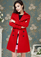 Cheap Red Colors Women's Double-Breasted Woolen Coat Winter Middle Long Overcoat Ladies Wool Bleed Coat Outwear(With Blet)