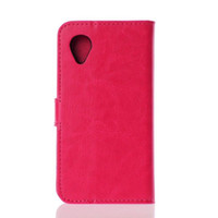 Wholesale New arrival Crazy Horse Leather Case for Google Nexus Wallet Flip Leather cover for LG Nexus stand function Card holrders