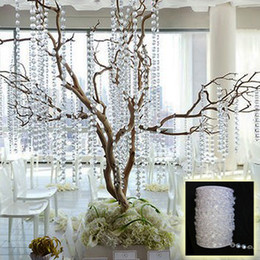 Wholesale HOT SALE IN STOCK M FT roll10mm acrylic disk beaded clear crystal garland strands for wedding decoration chandelier