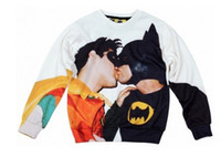 Wholesale 2014 european man hoody BATMAN ROBIN kiss print sweatshirt lover cartoon d s top