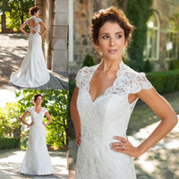 wedding grown dress - Retro Short Sleeves White Ivory Lace Sexy Open Back Short Train A Line Bridal Grow Custom Made Wedding Dresses