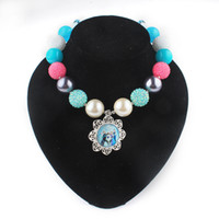 Wholesale Frozen Charm Necklace Gumball Beads Rhinestone Beads Solid chunky Beads Beaded Necklace Fashion Children s Jewelry Decoration