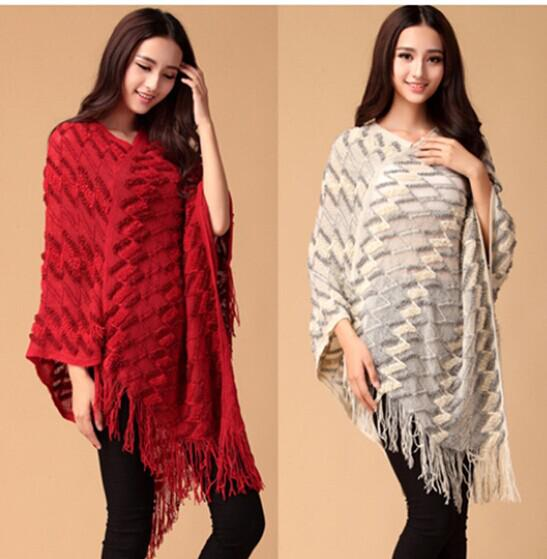 Fashion knit ponchos Leisure Cardigan Manteau en tricot Dames Batwing Cape Ponch