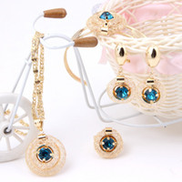Wholesale 2014 Blue Black Red Austrian Crystal Stone Vintage Charms Necklace Set Fashion Gold Plated Jewelry Sets For Women Bridal Wedding Accessories