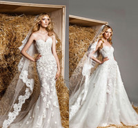 Wholesale zuhair murad new lace modest wedding dress with detachable train sexy lace applique sweetheart royal princess vintage style bridal gown