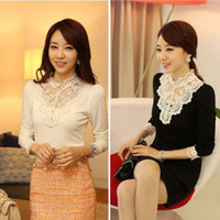 Cheap Wholesale - Women Lace Blouse Top Stand Collar Long Sleeve Slim Tops Slaes 11 15
