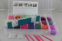 rubber band rainbow loom - Rainbow Bracelet Hot sale Plastic Box rainbow Loom kits S clips hook over Rubber Bands colors Storage Kit